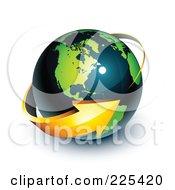 3d Orange Arrow Circling A Green And Dark Blue American Globe