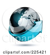 3d Blue Arrow Circling A Dark Blue African And European Globe