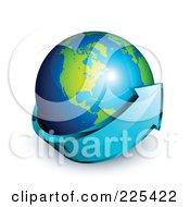 3d Blue Arrow Circling A Green And Blue American Globe