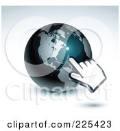 3d Hand Computer Curosr Pointing At A Gray And Dark Blue American Globe