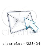Royalty Free RF Clipart Illustration Of A 3d Arrow Cursor Clicking On An Envelope