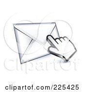 3d Hand Cursor Clicking On An Envelope