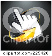 3d Orange Arrow Circling Counter Clockwise Around A Hand Cursor On A Black Lined Background