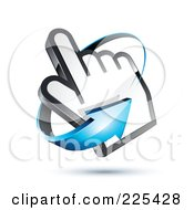3d Blue Arrow Circling Counter Clockwise Around A Hand Cursor On A Shaded White Background