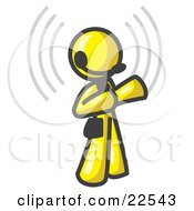Clipart Illustration Of A Yellow Customer Service Representative Taking A Call With A Headset In A Call Center