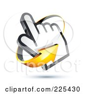 3d Orange Arrow Circling Counter Clockwise Around A Hand Cursor On A Shaded White Background
