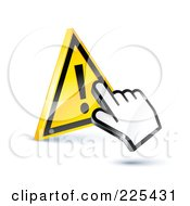 Royalty Free RF Clipart Illustration Of A 3d Hand Cursor Clicking On A Yellow Exclamation Button by beboy