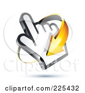 3d Orange Arrow Circling Clockwise Around A Hand Cursor On A Shaded White Background