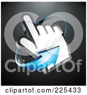 3d Blue Arrow Circling Counter Clockwise Around A Hand Cursor On A Black Lined Background