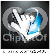 3d Blue Arrow Circling Clockwise Around A Hand Cursor On A Black Lined Background