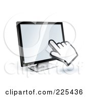 3d Hand Cursor Clicking On A Blank Computer Monitor