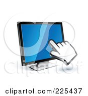 Royalty Free RF Clipart Illustration Of A 3d Hand Cursor Clicking On A Blue Computer Monitor by beboy