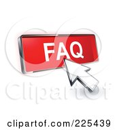 Royalty Free RF Clipart Illustration Of A 3d Arrow Cursor Clicking On A Red FAQ Button