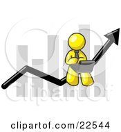 Clipart Illustration Of A Yellow Man Conducting Business On A Laptop Computer On An Arrow Moving Upwards In Front Of A Bar Graph Symbolizing Success by Leo Blanchette