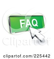 Royalty Free RF Clipart Illustration Of A 3d Arrow Cursor Clicking On A Green FAQ Button