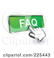 Royalty Free RF Clipart Illustration Of A 3d Hand Cursor Clicking On A Green FAQ Button