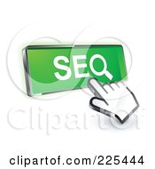 Royalty Free RF Clipart Illustration Of A 3d Hand Cursor Clicking On A Green SEO Button