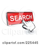 3d Hand Cursor Clicking On A Red Search Button