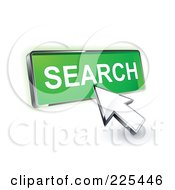 Royalty Free RF Clipart Illustration Of A 3d Arrow Cursor Clicking On A Green Search Button