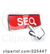 3d Hand Cursor Clicking On A Red SEO Button