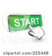 Royalty Free RF Clipart Illustration Of A 3d Hand Cursor Clicking On A Green Start Button