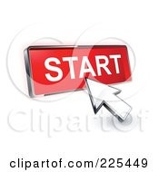 Royalty Free RF Clipart Illustration Of A 3d Arrow Cursor Clicking On A Red Start Button