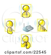 Clipart Illustration Of Yellow Men Holding A Phone Meeting And Wearing Wireless Headsets