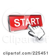 3d Hand Cursor Clicking On A Red Start Button