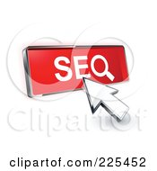 Royalty Free RF Clipart Illustration Of A 3d Arrow Cursor Clicking On A Red SEO Button