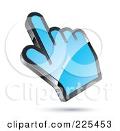 Royalty Free RF Clipart Illustration Of A 3d Shiny Blue Computer Cursor Hand by beboy