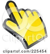 Royalty Free RF Clipart Illustration Of A 3d Shiny Yellow Computer Cursor Hand