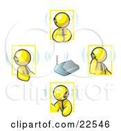 Clipart Illustration Of A Group Of Four Yellow Men Holding A Phone Meeting And Wearing Wireless Bluetooth Headsets