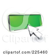 Royalty Free RF Clipart Illustration Of A 3d Arrow Cursor Clicking On A Blank Green Button