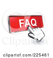 Royalty Free RF Clipart Illustration Of A 3d Hand Cursor Clicking On A Red FAQ Button