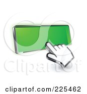 Royalty Free RF Clipart Illustration Of A 3d Hand Cursor Clicking On A Blank Green Button