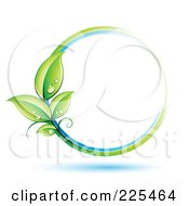 Royalty Free RF Clipart Illustration Of A 3d White Circle With White Blue And Green Lines And Dewy Leaves by beboy #COLLC225464-0058