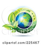 3d Shiny African Globe With Green Leaves And 100 Percent Nature Text
