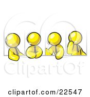 Clipart Illustration Of Four Different Yellow Men Wearing Headsets And Having A Discussion During A Phone Meeting