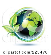 Royalty Free RF Clipart Illustration Of A 3d Shiny Green And Dark Blue African Globe Circled With Blue And Green Lines And Dewy Leaves