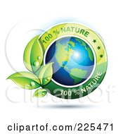 3d Shiny American Globe With Green Leaves And 100 Percent Nature Text