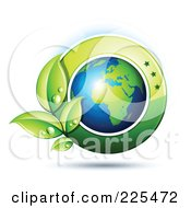 3d Shiny African Globe With Dewy Green Leaves And A Green Circle