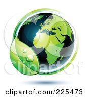 Royalty Free RF Clipart Illustration Of A 3d Shiny Green And Dark Blue African Globe Circled With Blue And Green Lines And A Dewy Leaf