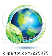 Royalty Free RF Clipart Illustration Of A 3d Shiny Green And Blue American Globe Circled With Blue And Green Lines And A Dewy Leaf by beboy #COLLC225475-0058