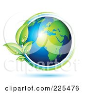 Royalty Free RF Clipart Illustration Of A 3d Shiny Gren And Blue African Globe Circled With Blue And Green Lines And Dewy Leaves by beboy #COLLC225476-0058