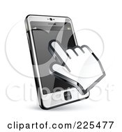Royalty Free RF Clipart Illustration Of A 3d Hand Cursor Using A Touch Cell Phone