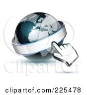 Royalty Free RF Clipart Illustration Of A 3d Computer Cursor Hand Pointing At A Banner On A Gray And Dark Blue African Globe