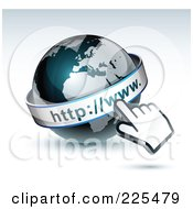 Royalty Free RF Clipart Illustration Of A 3d Computer Cursor Hand Pointing At A Gray And Dark Blue African WWW Globe