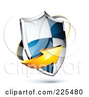 Royalty Free RF Clipart Illustration Of A 3d Orange Arrow Around A Blue And White Shield