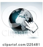 Royalty Free RF Clipart Illustration Of A 3d Hand Computer Cursor Pointing At A Gray And Dark Blue African Globe