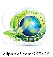 Royalty Free RF Clipart Illustration Of A 3d Shiny American Globe With Green Leaves And Think Green Text